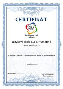 Certifikát o úspešnom absolvovaní kurzu v ELSiS